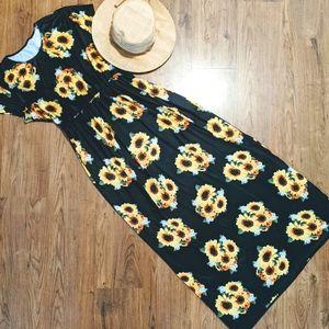 Woman's Plus Sz Sunflower Maxi Dress 2X